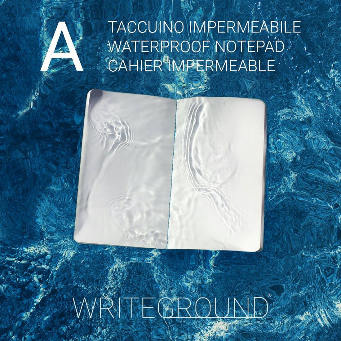 A, quaderno impermeabile, all-weather, waterproof, water resistant, paperbook, notepad, notebook, stationery, cartoleria, innovation, innovative design, italian design, イタリア人デザイナー